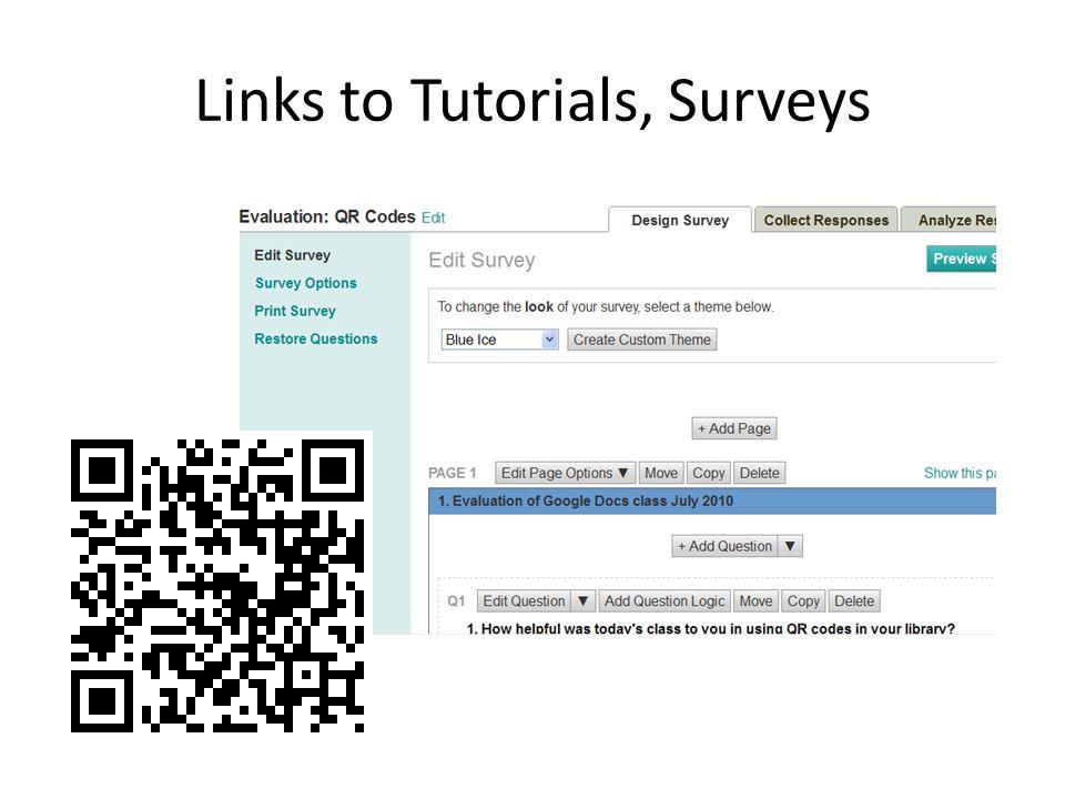 Links to Tutorials, Surveys