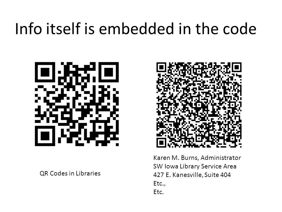 QR Codes in Libraries Karen M. Burns, Administrator SW Iowa Library Service Area 427 E.