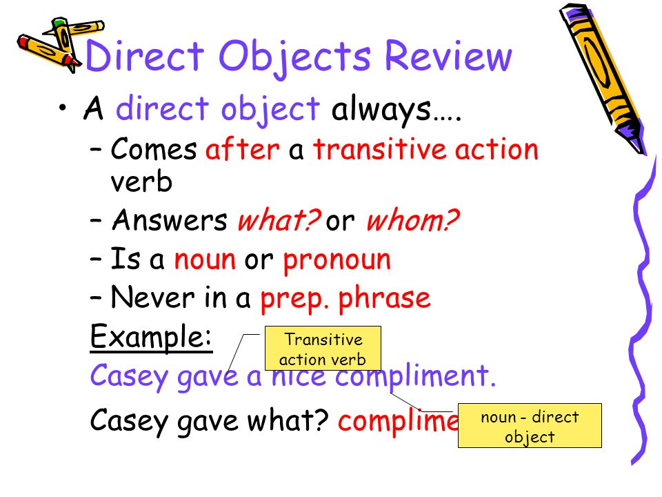 Direct Objects Review A direct object always…. –Comes after a transitive action verb –Answers what? or whom? –Is a noun or pronoun –Never in a prep. p
