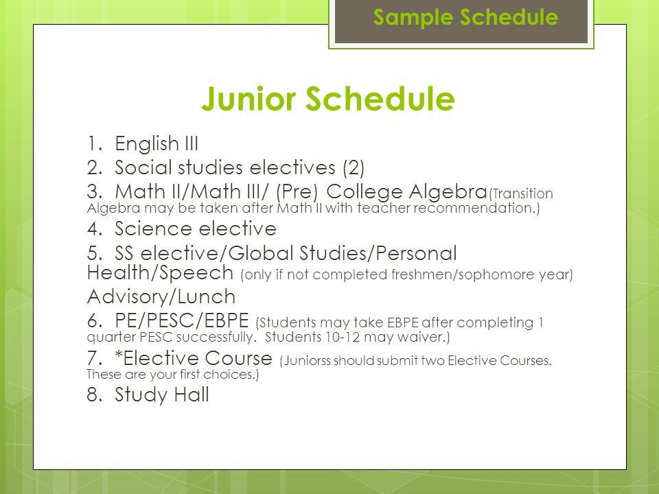 Junior Schedule 1. English III 2. Social studies electives (2) 3. Math II/Math III/ (Pre) College Algebra (Transition Algebra may be taken after Math