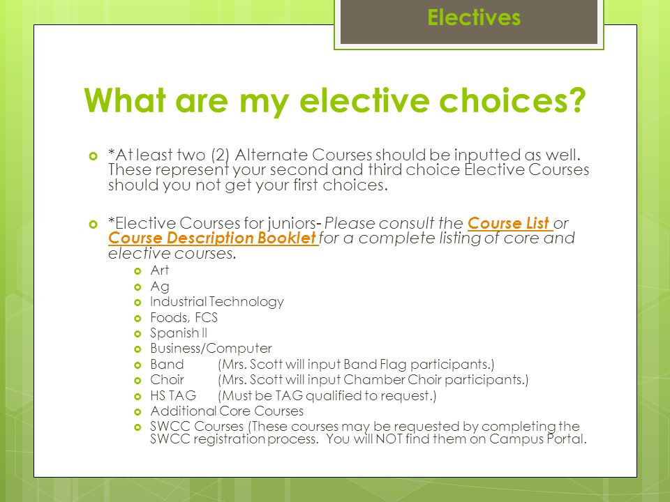 What are my elective choices.  *At least two (2) Alternate Courses should be inputted as well.