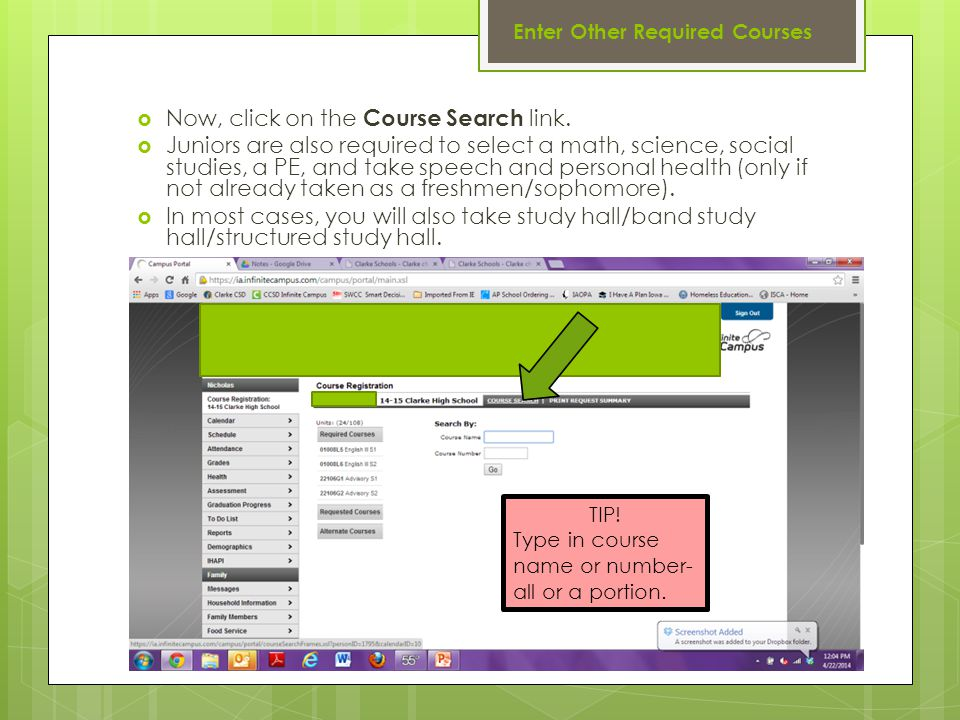 Enter Other Required Courses  Now, click on the Course Search link.
