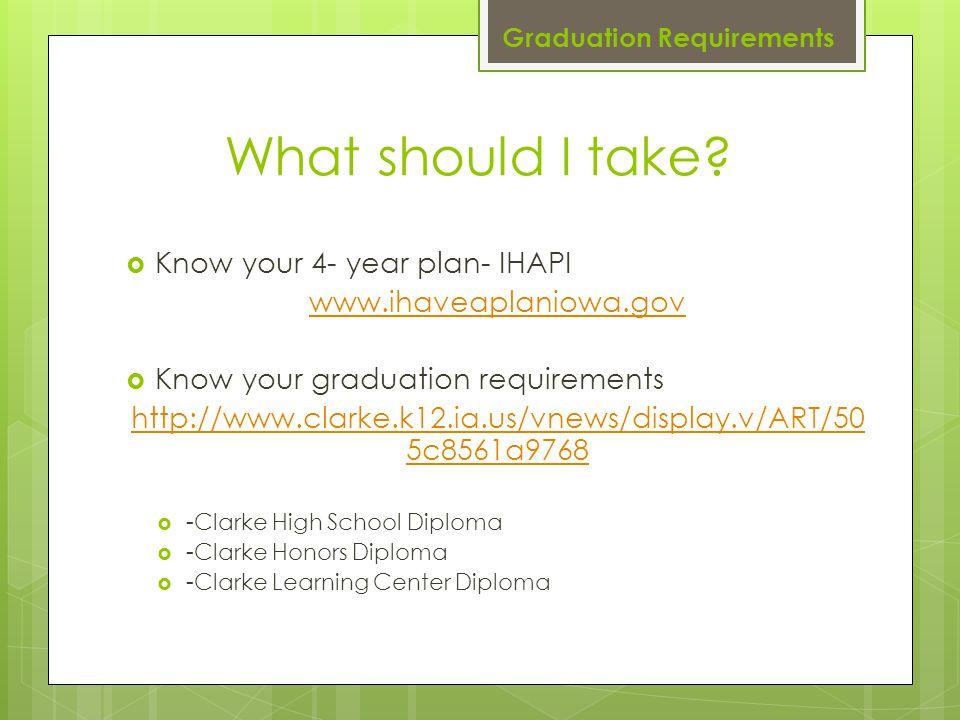 What should I take?  Know your 4- year plan- IHAPI www.ihaveaplaniowa.gov  Know your graduation requirements http://www.clarke.k12.ia.us/vnews/displ