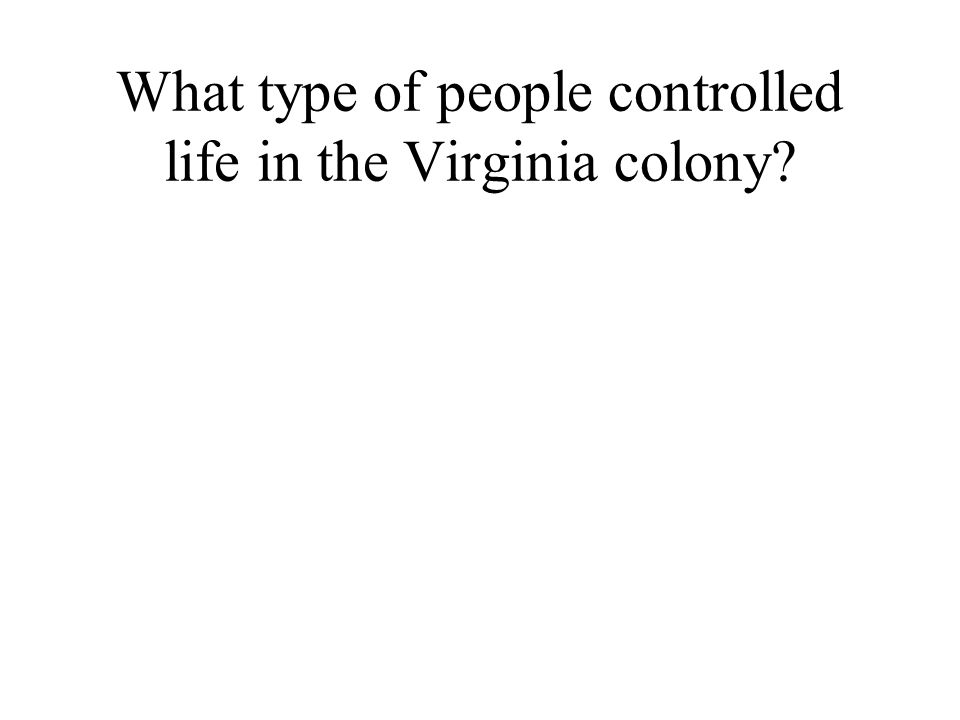 What type of people controlled life in the Virginia colony
