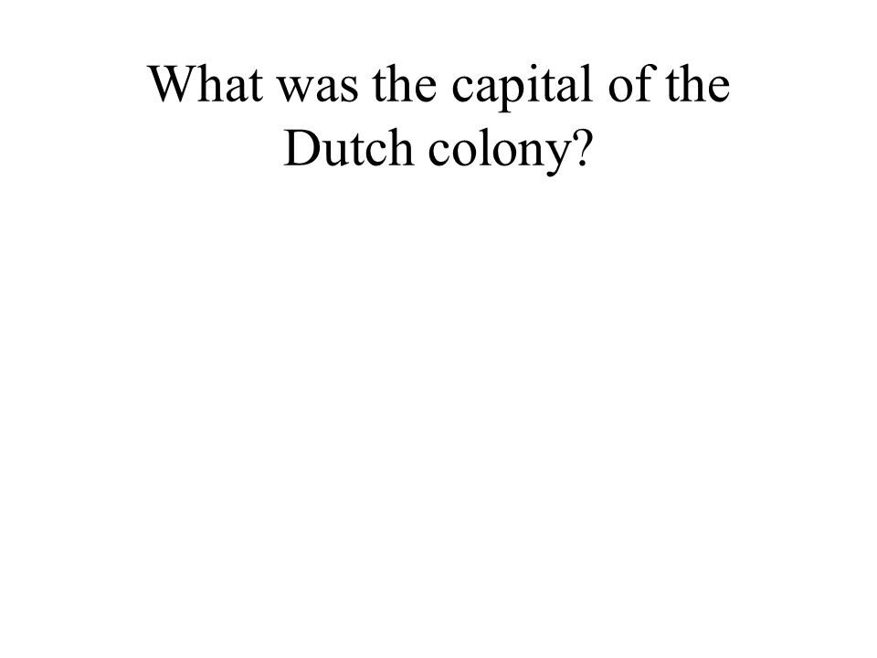 What was the capital of the Dutch colony