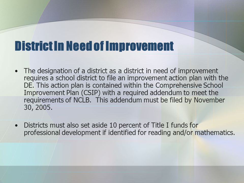 District in Need of Improvement Since all districts receive Title I funds, they are subject to the requirements of meeting AYP.
