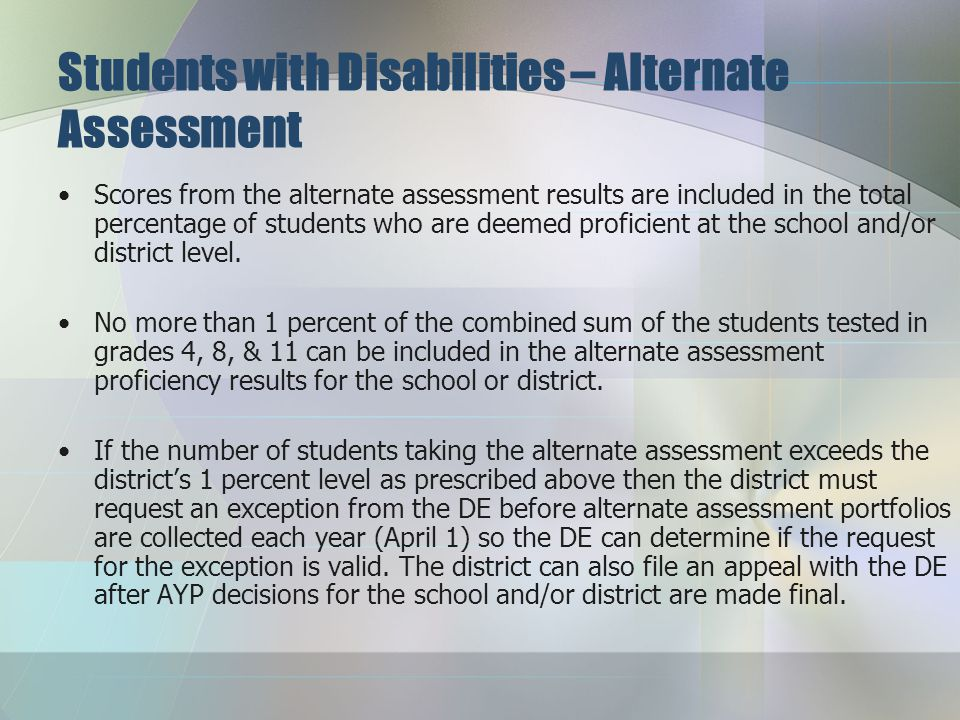 "Students with Disabilities – Alternate Assessment March 31 will be the ""official"" due date for the alternate assessment (i.e., due date for completion"