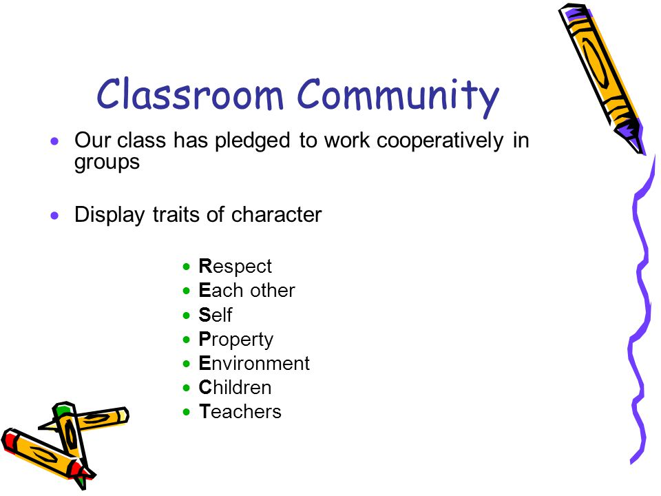 Classroom Community  Our class has pledged to work cooperatively in groups  Display traits of character  Respect  Each other  Self  Property  Environment  Children  Teachers