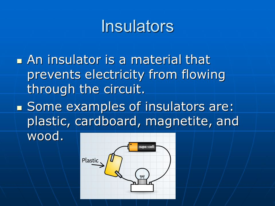 Insulators An insulator is a material that prevents electricity from flowing through the circuit.