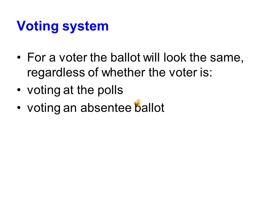 Voting system For a voter the ballot will look the same, regardless of whether the voter is: voting at the polls