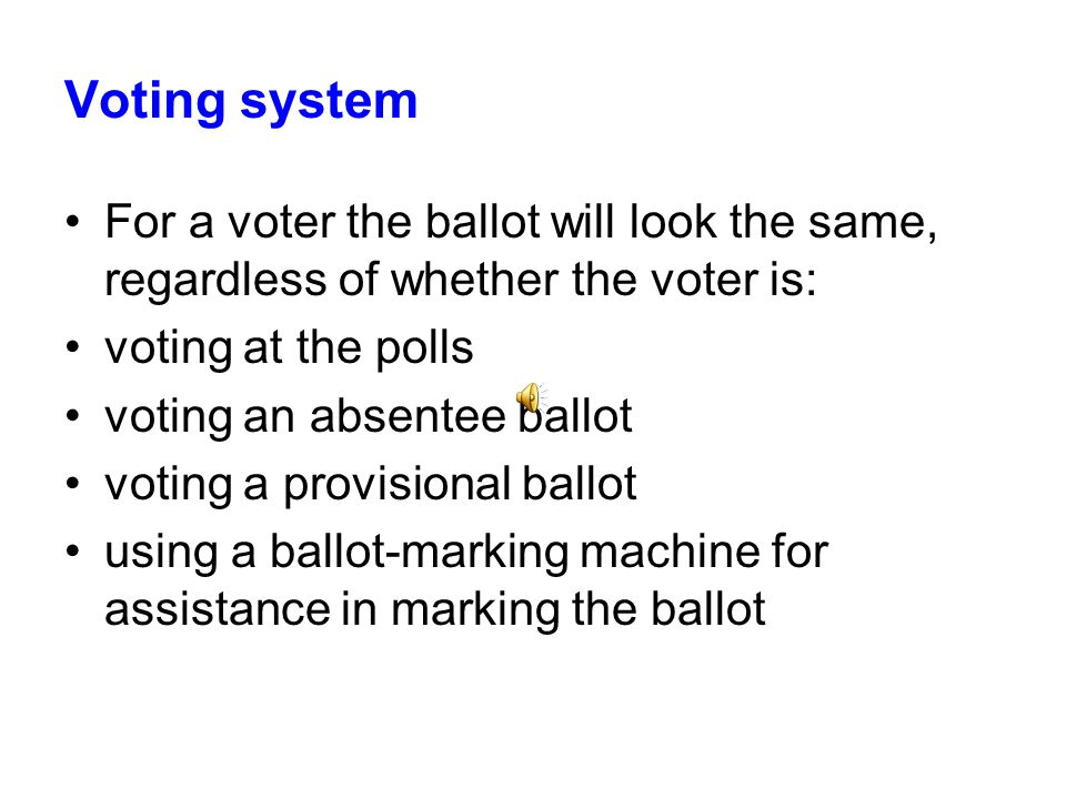 Voting system For a voter the ballot will look the same, regardless of whether the voter is: voting at the polls voting an absentee ballot voting a provisional ballot