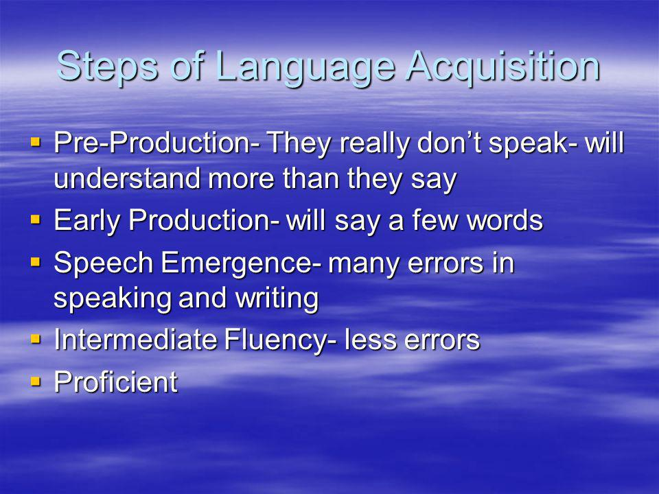 Steps of Language Acquisition  Pre-Production- They really don't speak- will understand more than they say  Early Production- will say a few words  Speech Emergence- many errors in speaking and writing  Intermediate Fluency- less errors  Proficient