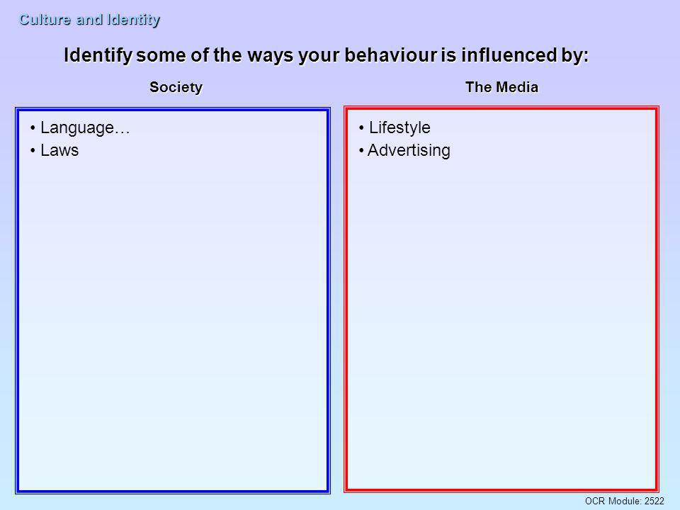 OCR Module: 2522 Culture and Identity Identify some of the ways your behaviour is influenced by: School Your Family Respect for authority What you are taught Right and wrong behaviour Language