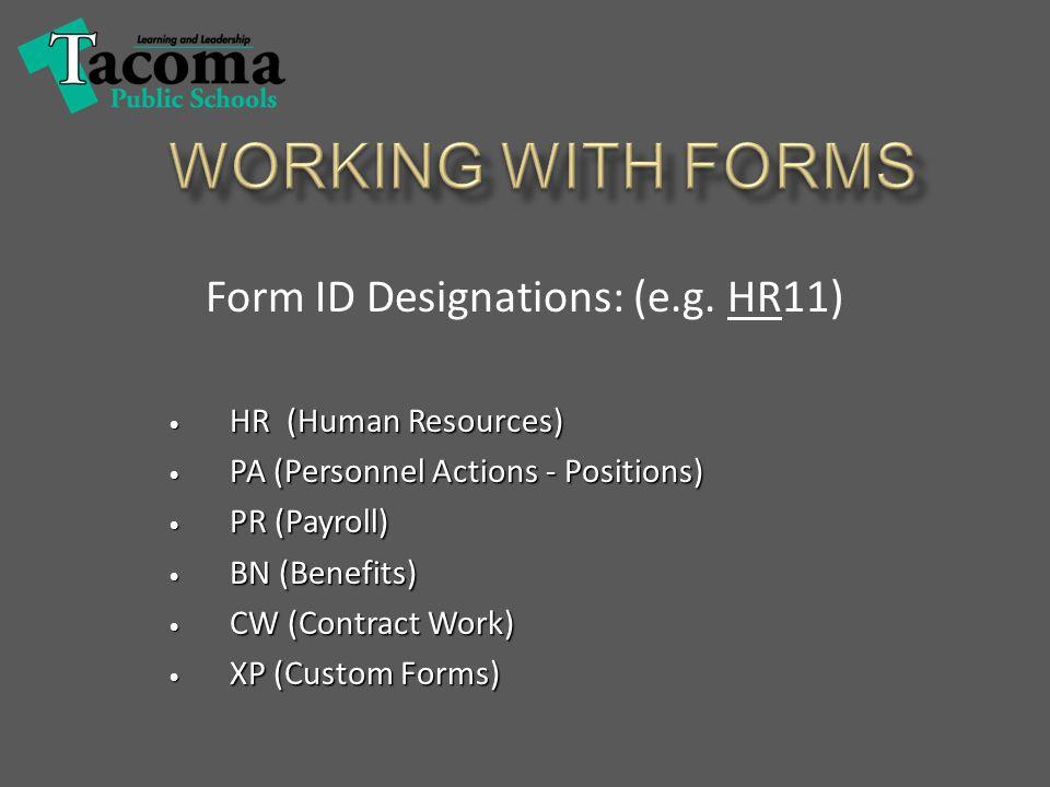 Form ID Designations: (e.g.