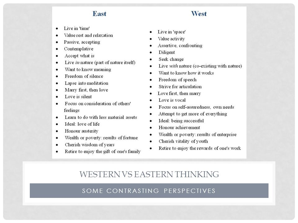 SOME CONTRASTING PERSPECTIVES WESTERN VS EASTERN THINKING