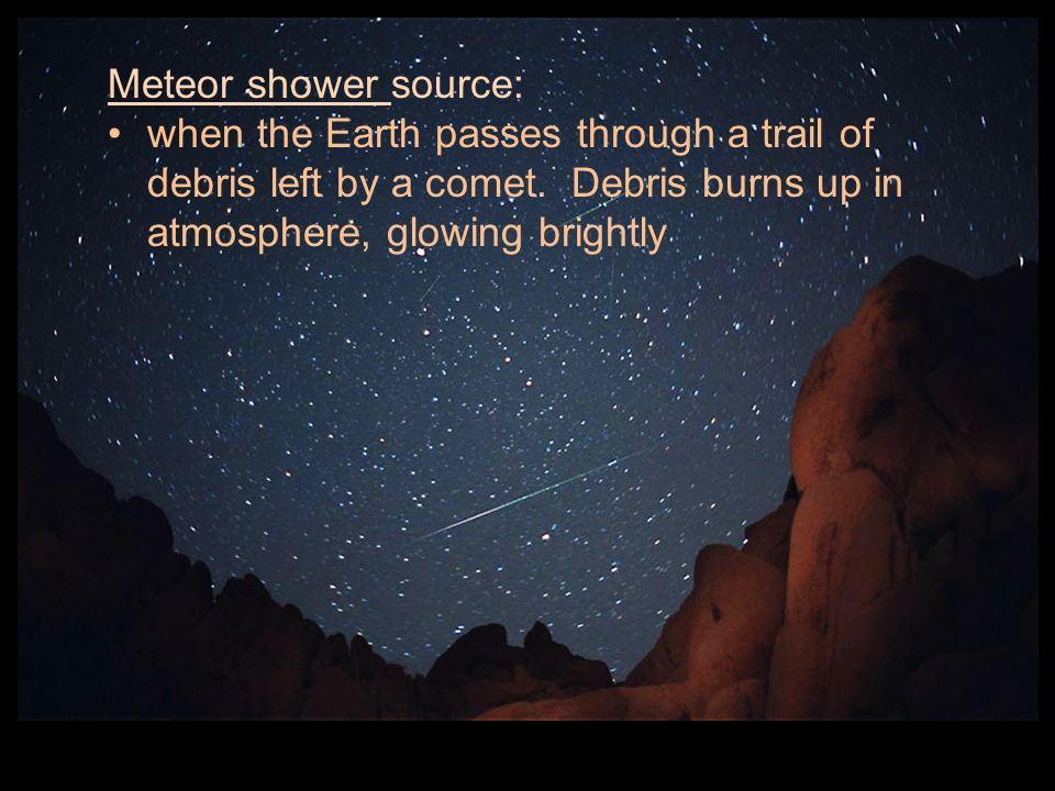 Meteor shower source: when the Earth passes through a trail of debris left by a comet.