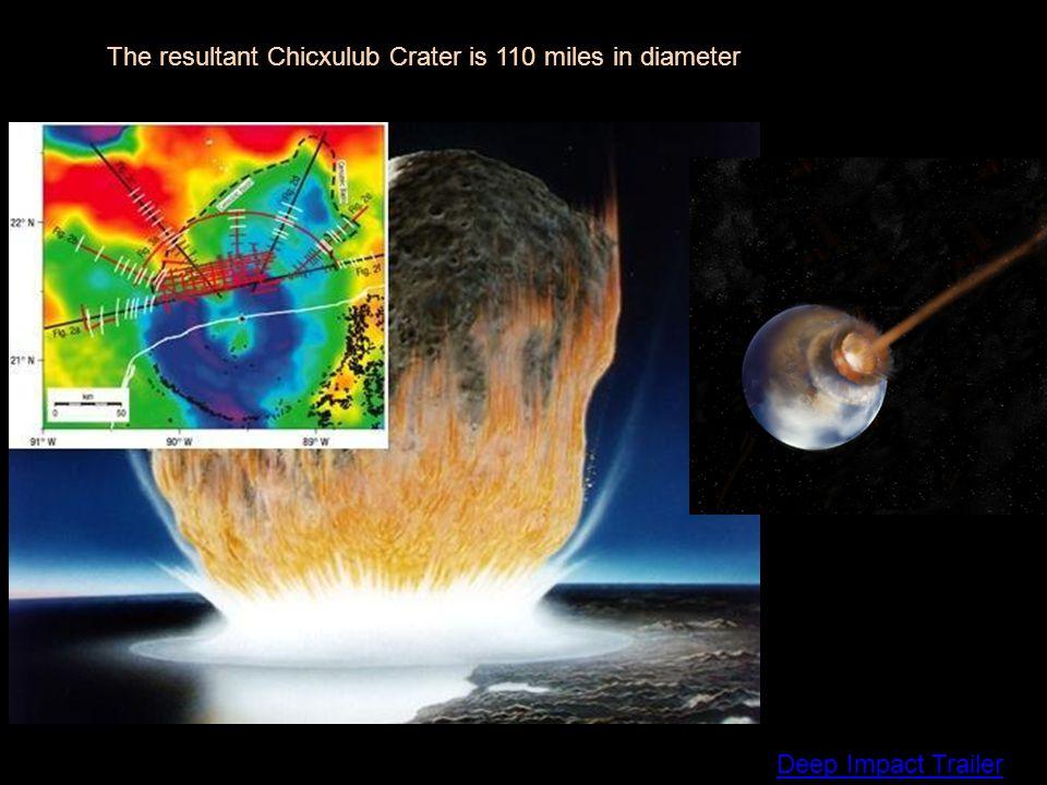 Deep Impact Trailer The resultant Chicxulub Crater is 110 miles in diameter