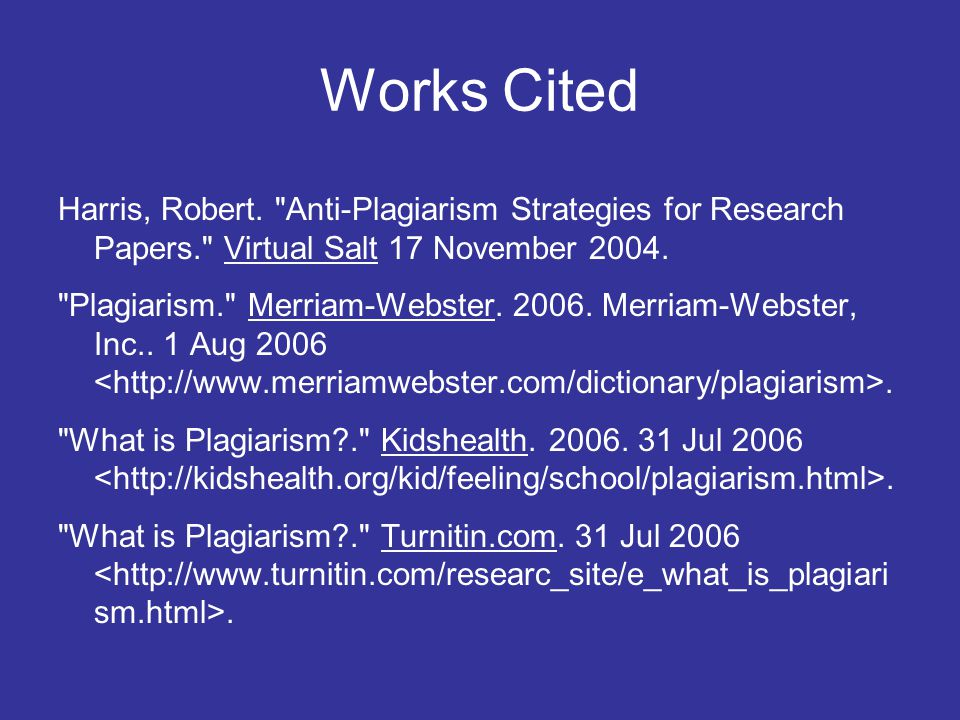 Works Cited Harris, Robert.