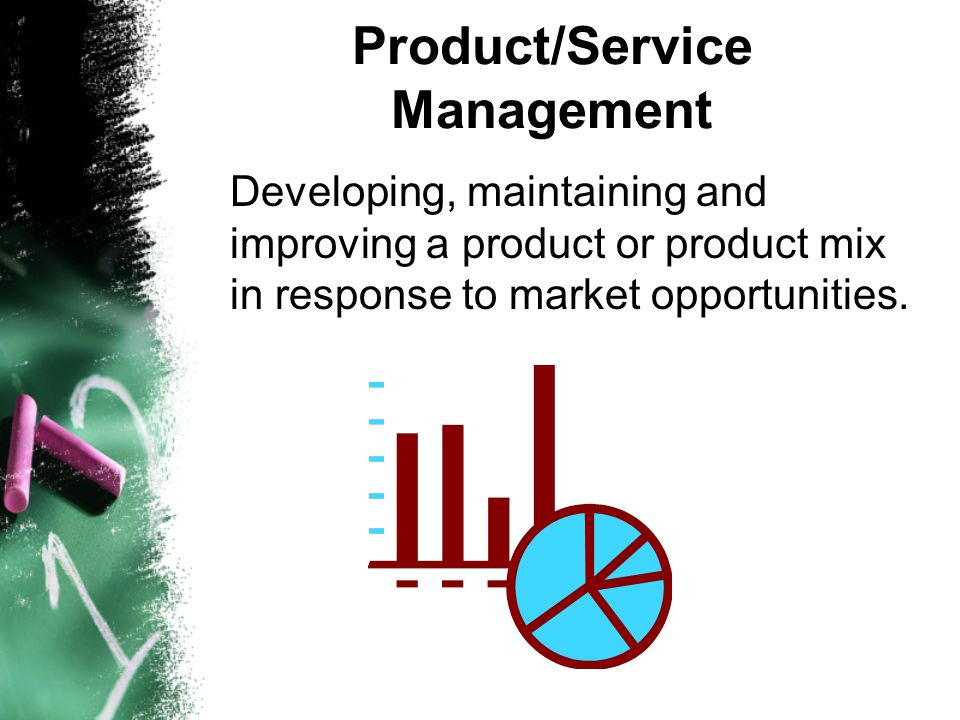 Product/Service Management Developing, maintaining and improving a product or product mix in response to market opportunities.