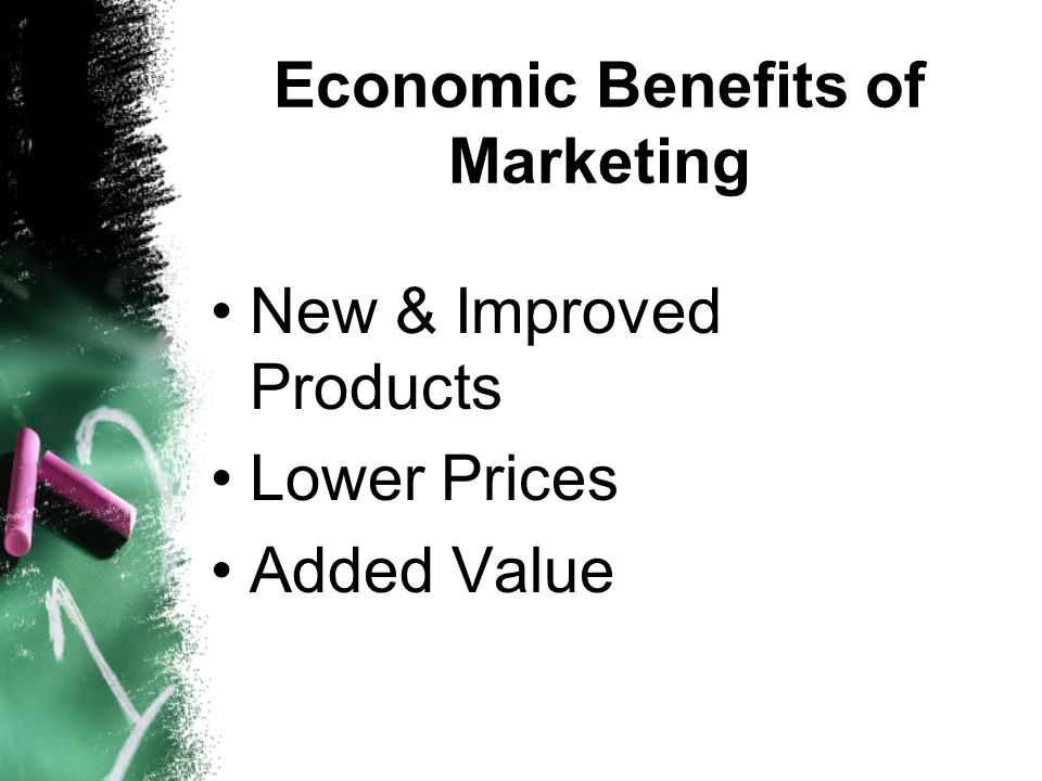 Economic Benefits of Marketing New & Improved Products Lower Prices Added Value