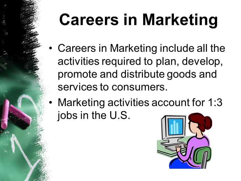 Careers in Marketing include all the activities required to plan, develop, promote and distribute goods and services to consumers. Marketing activitie