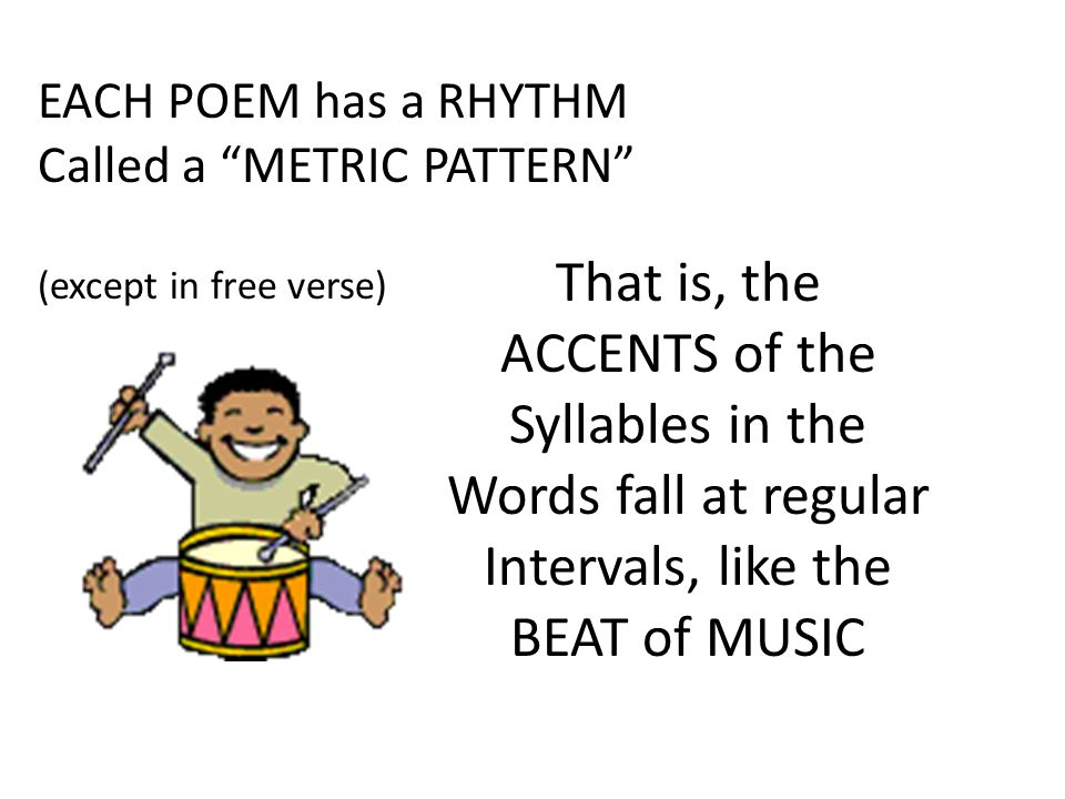 "EACH POEM has a RHYTHM Called a ""METRIC PATTERN"" (except in free verse) That is, the ACCENTS of the Syllables in the Words fall at regular Intervals,"