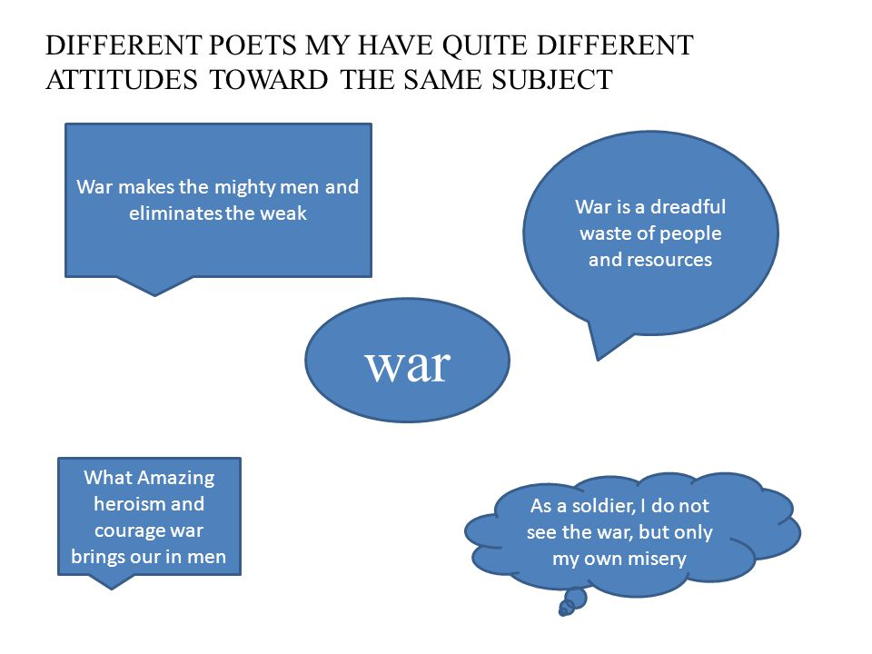 DIFFERENT POETS MY HAVE QUITE DIFFERENT ATTITUDES TOWARD THE SAME SUBJECT war War is a dreadful waste of people and resources War makes the mighty men