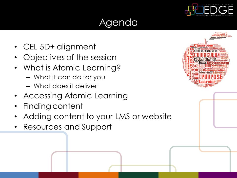 Agenda CEL 5D+ alignment Objectives of the session What is Atomic Learning? – What it can do for you – What does it deliver Accessing Atomic Learning
