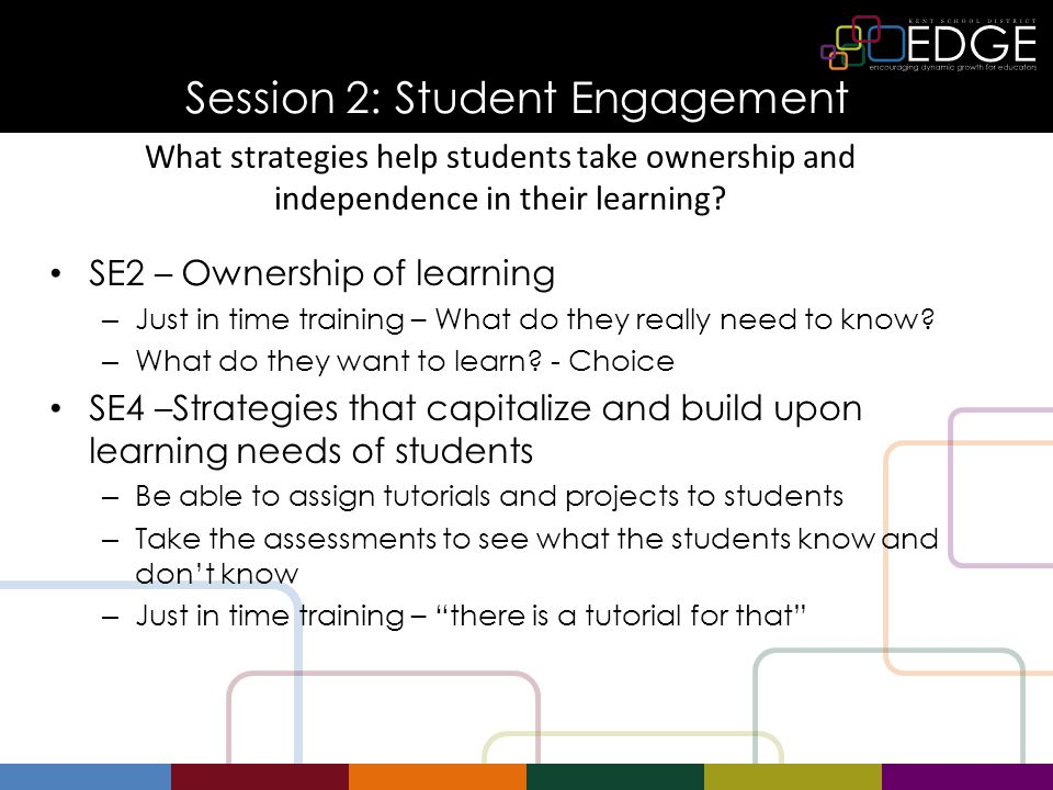 Session 2: Student Engagement SE2 – Ownership of learning – Just in time training – What do they really need to know.