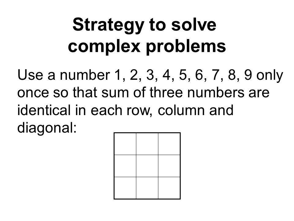 Strategy to solve complex problems Use a number 1, 2, 3, 4, 5, 6, 7, 8, 9 only once so that sum of three numbers are identical in each row, column and