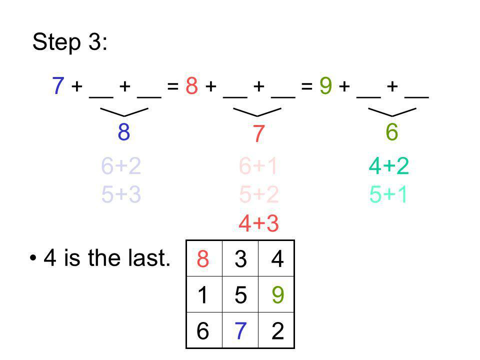 Step 3: 7 + __ + __ = 8 + __ + __ = 9 + __ + __ 8 7 6 6+2 5+3 6+1 5+2 4+3 4+2 5+1 8 7 9 4 is the last. 5 3 2 1 6 4
