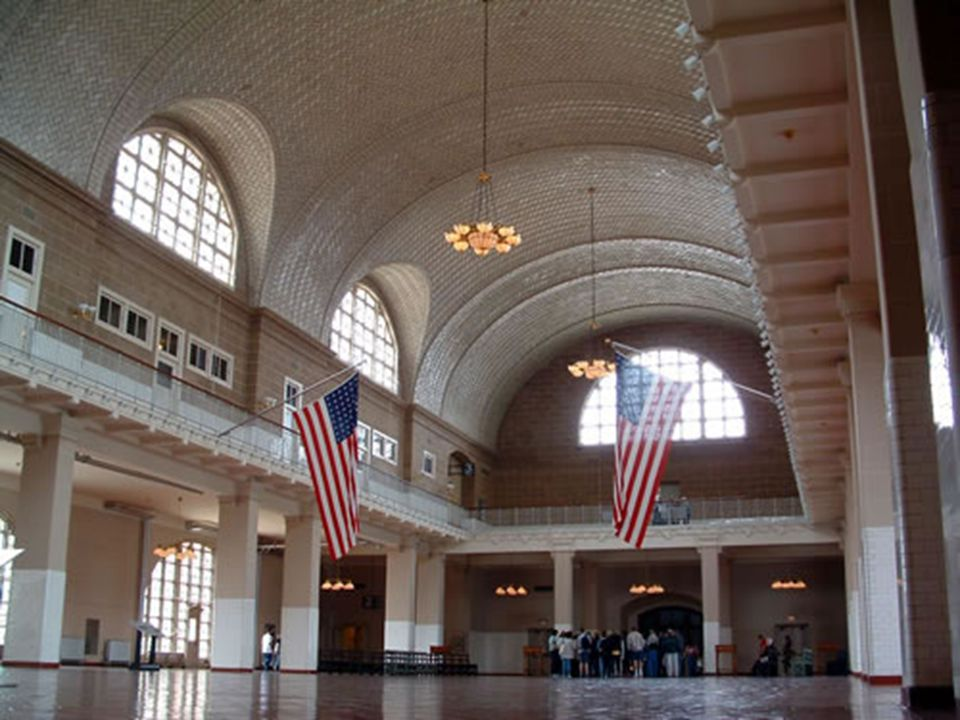 When the barge pulled up to the dock at Ellis Island the first place you went was The Great Hall to be inspected by doctors.