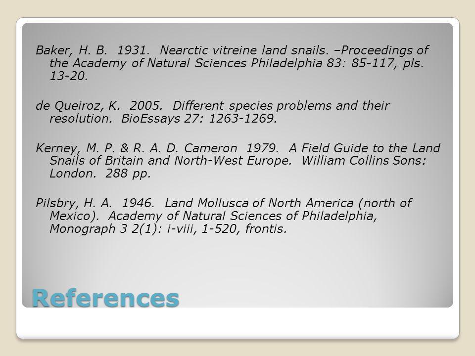 References Baker, H. B. 1931. Nearctic vitreine land snails. –Proceedings of the Academy of Natural Sciences Philadelphia 83: 85 ‑ 117, pls. 13-20. de