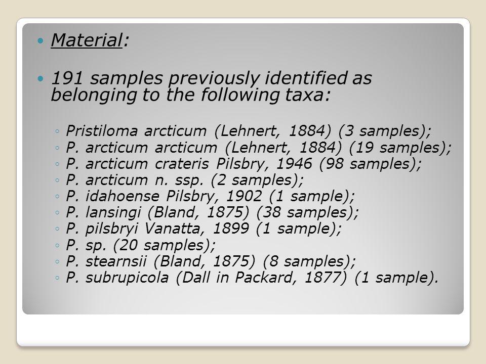 Material: 191 samples previously identified as belonging to the following taxa: ◦Pristiloma arcticum (Lehnert, 1884) (3 samples); ◦P. arcticum arcticu