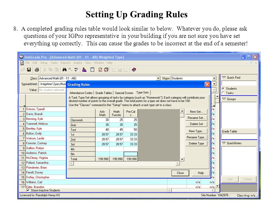 15 8. A completed grading rules table would look similar to below. Whatever you do, please ask questions of your IGPro representative in your building