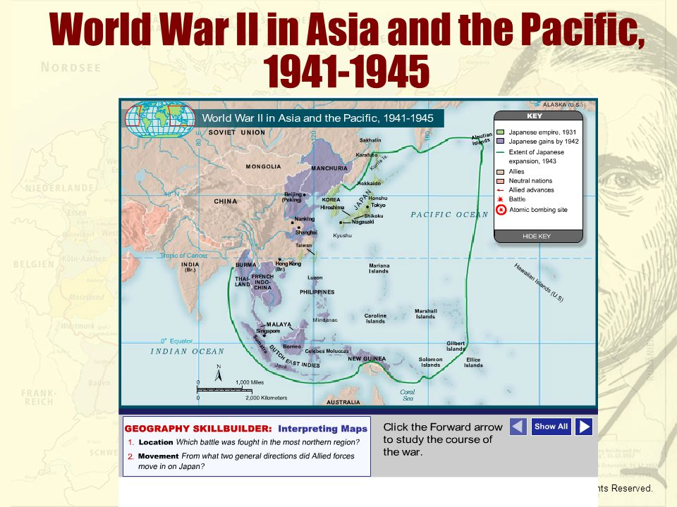 Copyright © McDougal Littell. All Rights Reserved. World War II in Asia and the Pacific, 1941-1945