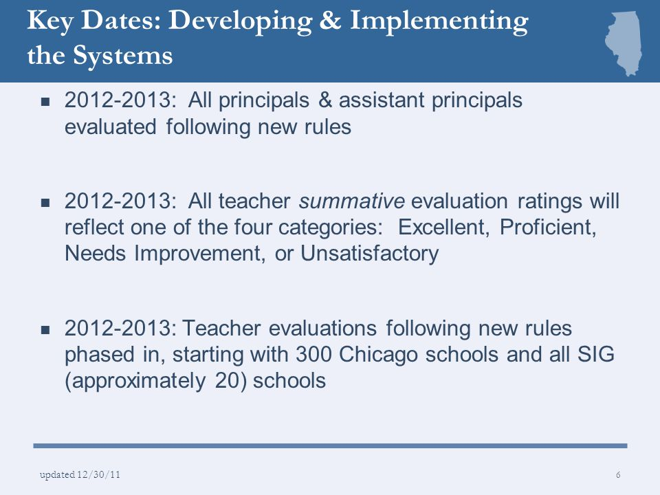 Key Dates: Developing & Implementing the Systems 2013-2014: Teacher evaluations following new rules for the remaining CPS schools 2015-2016: The lowest performing 20% of schools in the state 2016-2017: All other districts in state implement PERA, Part 50 of administrative rules.