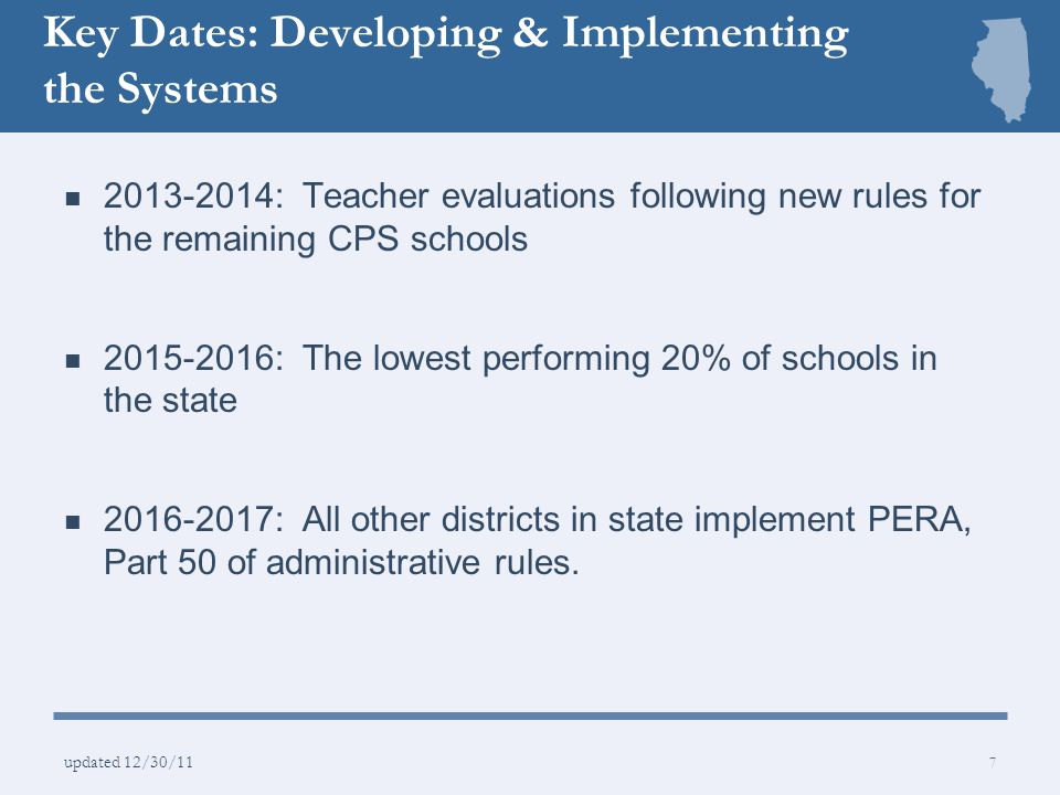 Key Benefits Consistent standards…clearer, more objective feedback Improved professional development Multiple measures of student growth Improved student learning 8 updated 12/30/11