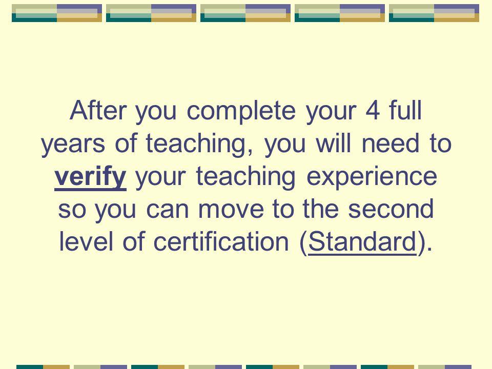 How do you verify teaching experience.
