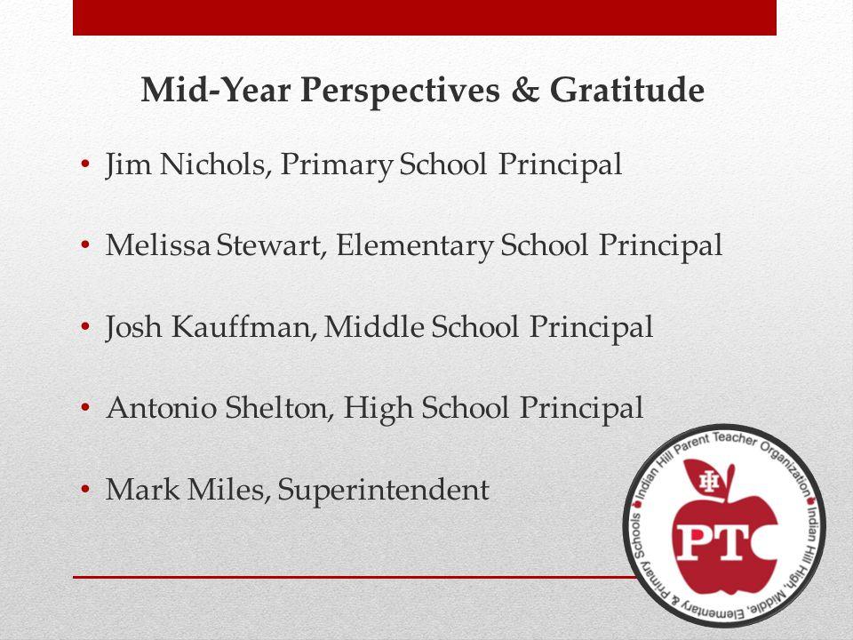 Mid-Year Perspectives & Gratitude Jim Nichols, Primary School Principal Melissa Stewart, Elementary School Principal Josh Kauffman, Middle School Principal Antonio Shelton, High School Principal Mark Miles, Superintendent