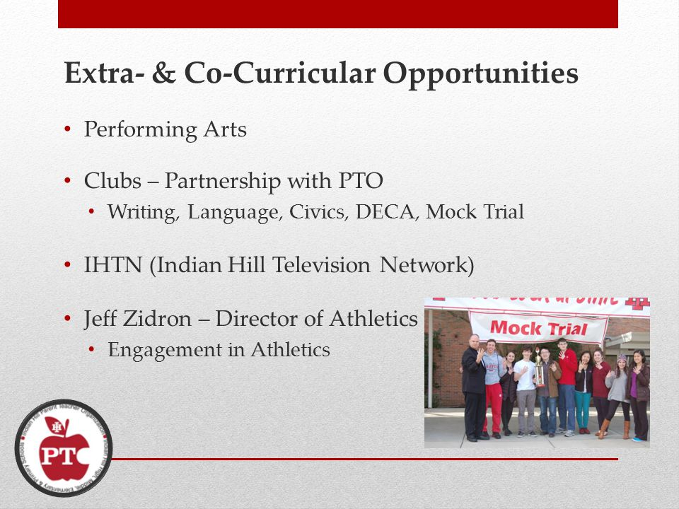 Extra- & Co-Curricular Opportunities Performing Arts Clubs – Partnership with PTO Writing, Language, Civics, DECA, Mock Trial IHTN (Indian Hill Television Network) Jeff Zidron – Director of Athletics Engagement in Athletics