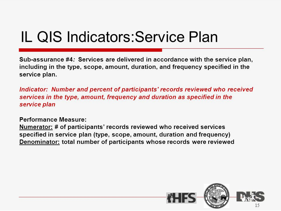 IL QIS Indicators:Service Plan 15 Sub-assurance #4: Services are delivered in accordance with the service plan, including in the type, scope, amount, duration, and frequency specified in the service plan.