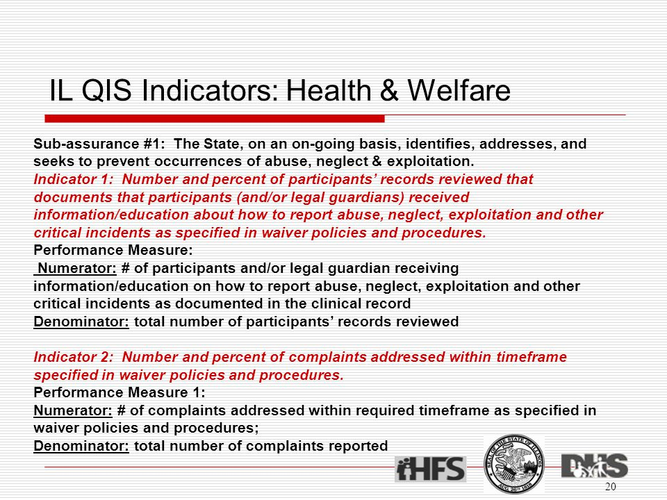 IL QIS Indicators: Health & Welfare 20 Sub-assurance #1: The State, on an on-going basis, identifies, addresses, and seeks to prevent occurrences of abuse, neglect & exploitation.