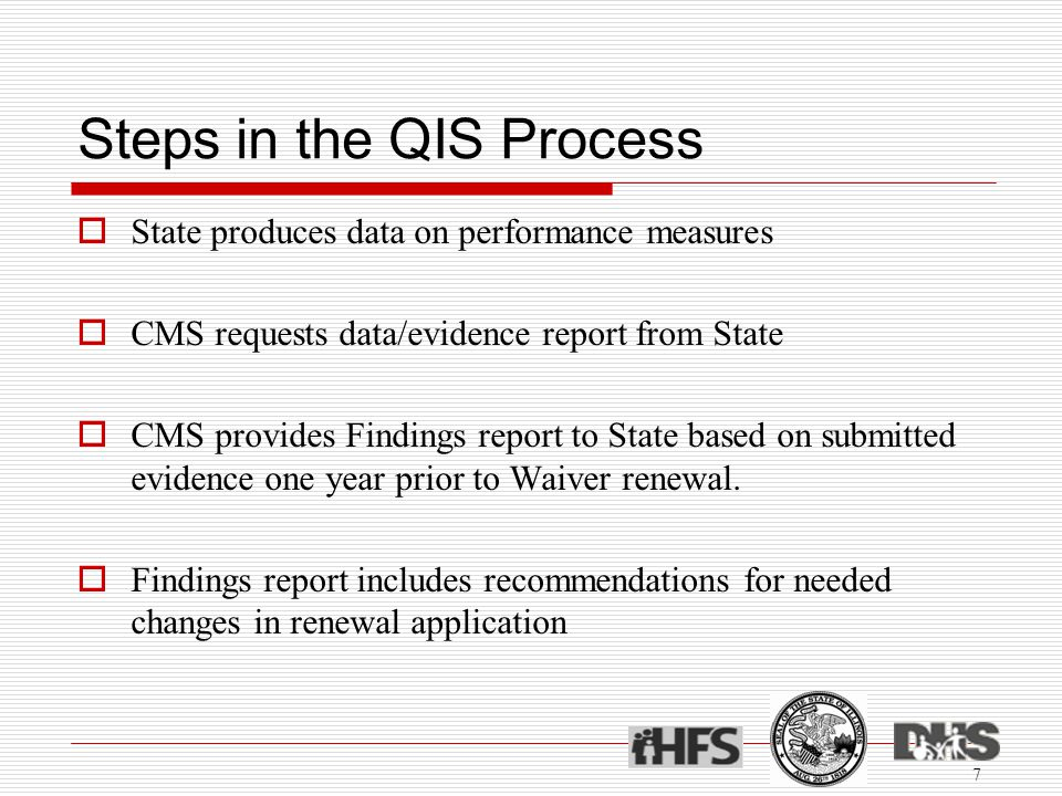 Steps in the QIS Process  State produces data on performance measures  CMS requests data/evidence report from State  CMS provides Findings report to State based on submitted evidence one year prior to Waiver renewal.