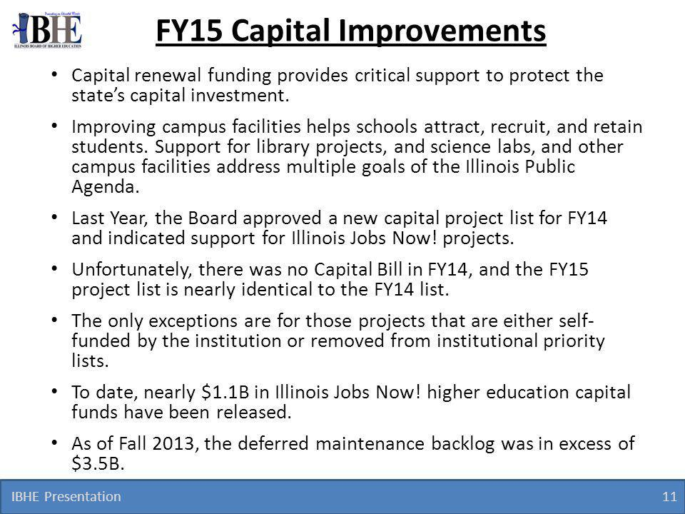 IBHE Presentation 11 FY15 Capital Improvements Capital renewal funding provides critical support to protect the state's capital investment.