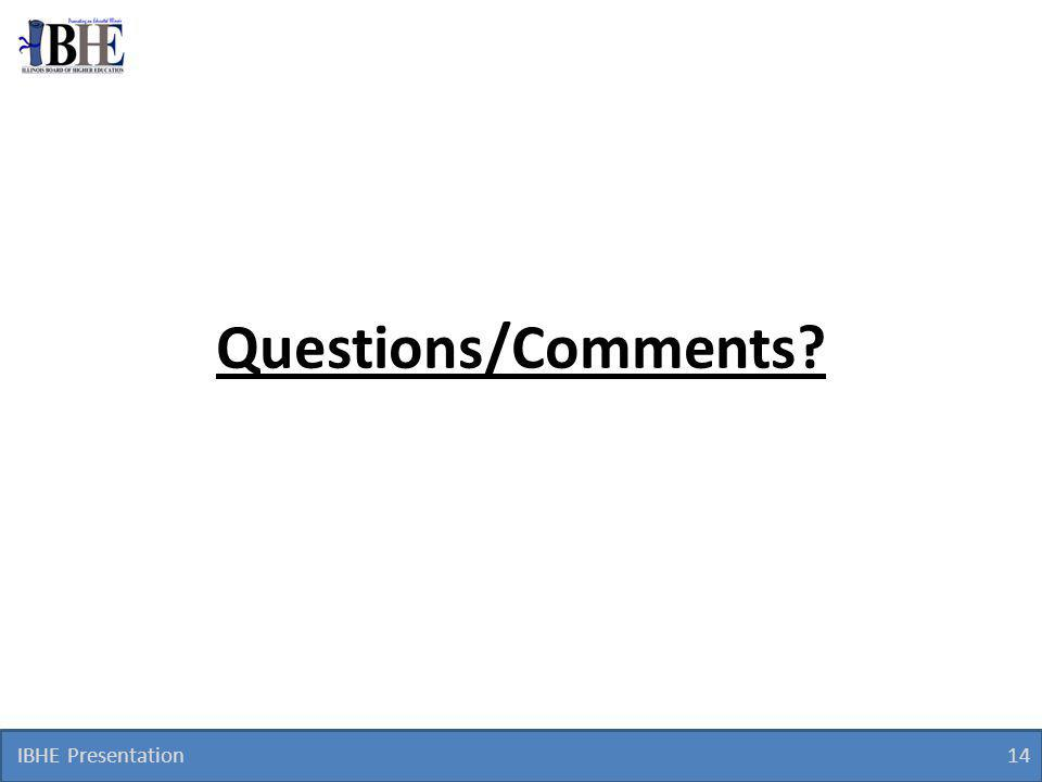 IBHE Presentation 14 Questions/Comments
