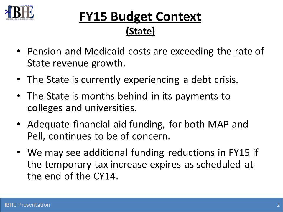 IBHE Presentation 2 FY15 Budget Context (State) Pension and Medicaid costs are exceeding the rate of State revenue growth.