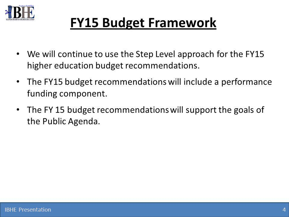 IBHE Presentation 4 FY15 Budget Framework We will continue to use the Step Level approach for the FY15 higher education budget recommendations.