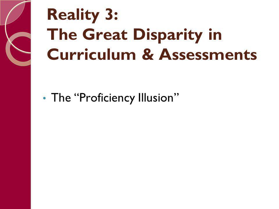 """Reality 3: The Great Disparity in Curriculum & Assessments The """"Proficiency Illusion"""""""
