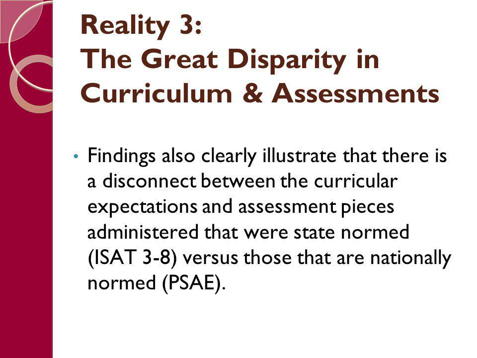 Reality 3: The Great Disparity in Curriculum & Assessments Findings also clearly illustrate that there is a disconnect between the curricular expectat